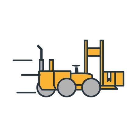 delivery service forklift lifting box vector illustration design
