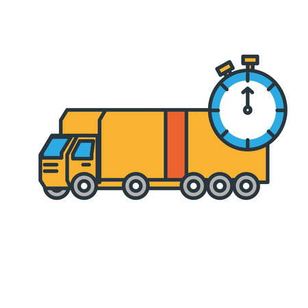 delivery service truck with chronometer vector illustration design Illustration