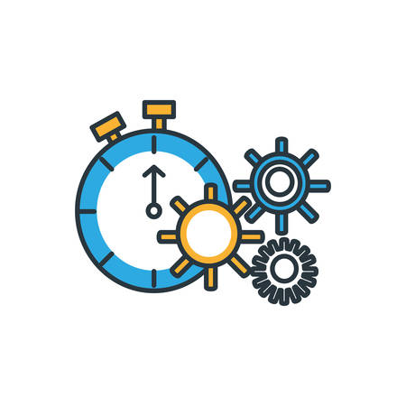 chronometer timer with gears pinion vector illustration design
