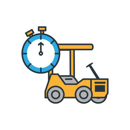 delivery service forklift with chronometer timer vector illustration design