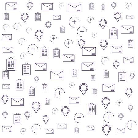 pattern of envelope mail with pin location and set icons vector illustration design