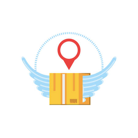 box carton with wings and pin location vector illustration design Vettoriali