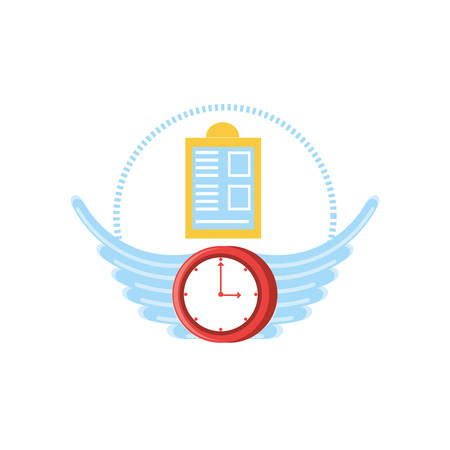 clock time with wings isolated icon vector illustration design Stock Vector - 124925326