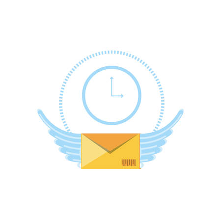 envelope mail with wings and clock vector illustration design
