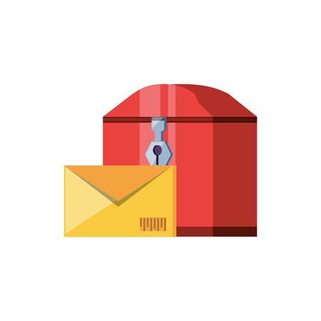 mail box with envelope delivery service vector illustration design