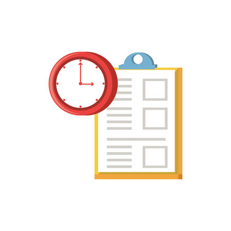 clipboard document with clock time vector illustration design