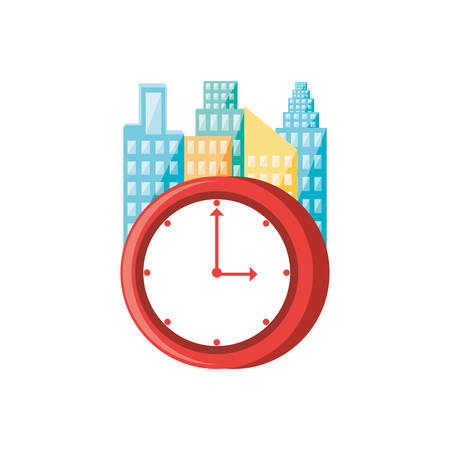 clock time with cityscape isolated icon vector illustration design