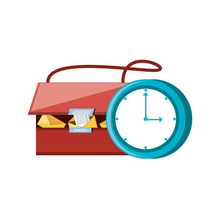 post bag with time clock vector illustration design