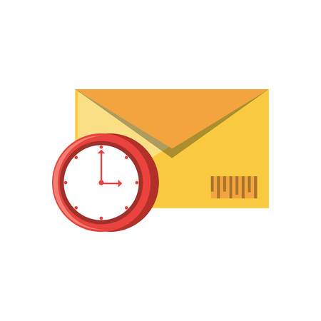 envelope mail with clock time vector illustration design Çizim