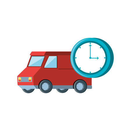 delivery service van with chronometer vector illustration design