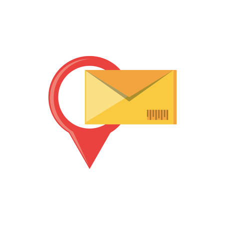 envelope mail with pin location vector illustration design Çizim