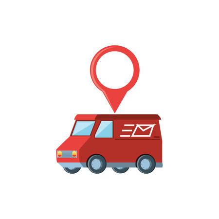 delivery service van with pin location vector illustration design