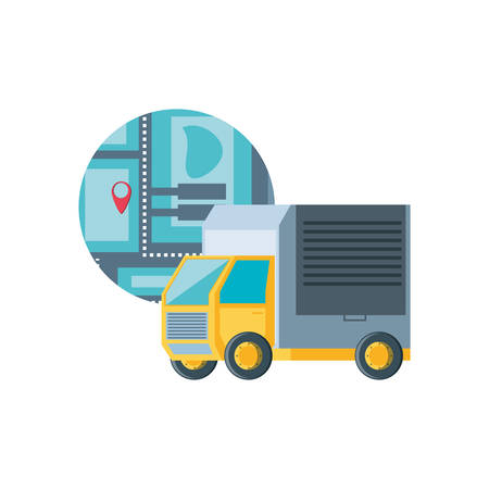delivery service truck with map guide vector illustration design Illustration