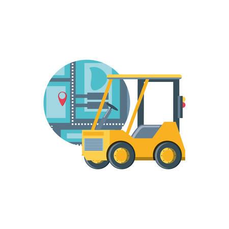 delivery service forklift with map guide vector illustration design Illustration