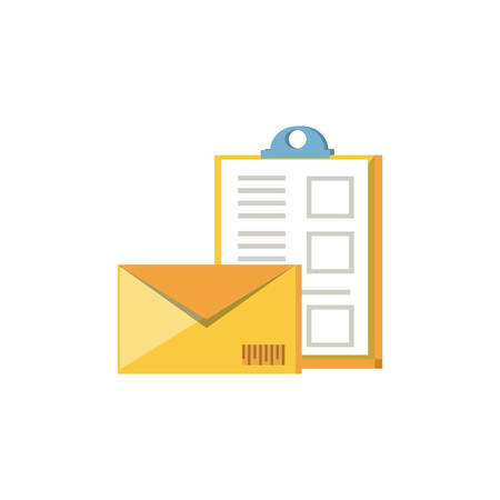 clipboard document with envelope mail vector illustration design