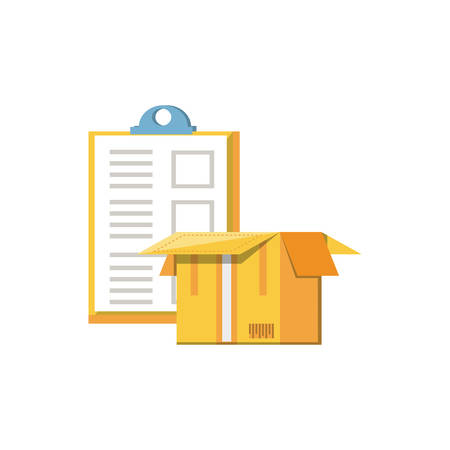clipboard document with box carton vector illustration design