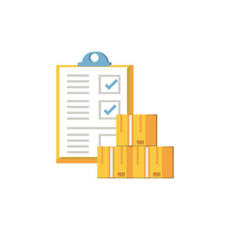 clipboard document with boxes icon vector illustration design Illustration