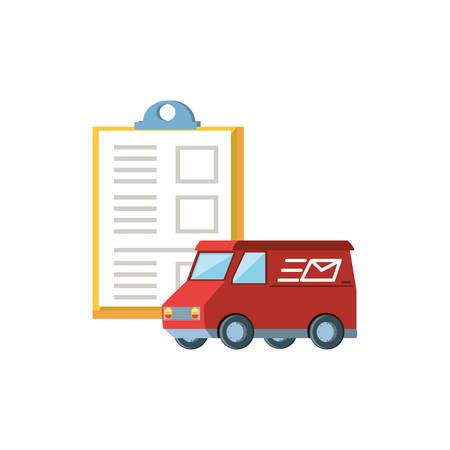 delivery service van with clipboard vector illustration design