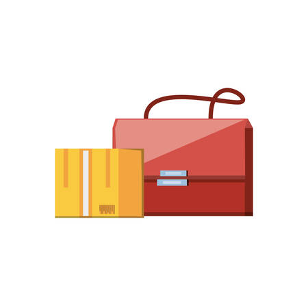post bag handle with box carton vector illustration design