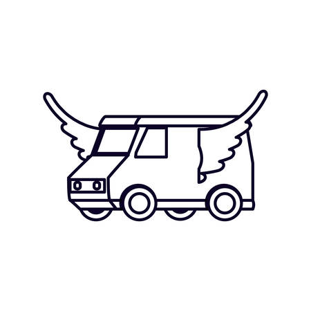 delivery service van with wings vector illustration design