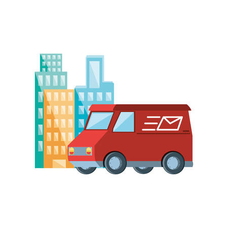 delivery service van with cityscape vector illustration design