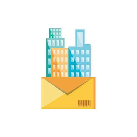 envelope mail with cityscape icon vector illustration design Çizim