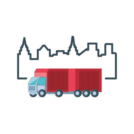 delivery service truck with cityscape vector illustration design