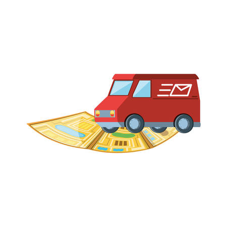 delivery service van with map guide vector illustration design Illustration