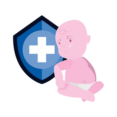 cute baby shield protection vaccination vector illustration Иллюстрация