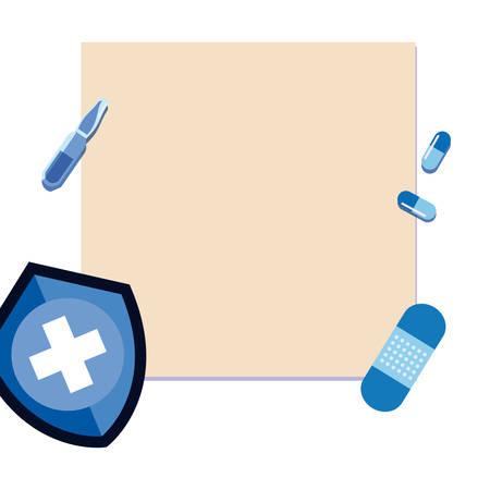 medical shield plaster capsules banner vaccination vector illustration