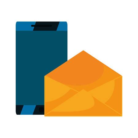 smartphone digital email message vector illustration design