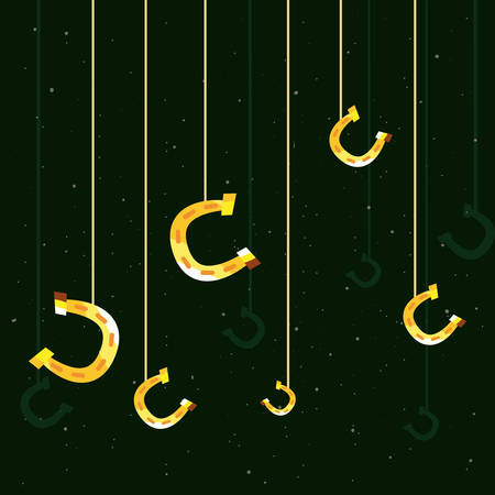 hanging gold horseshoes happy st patricks day vector illustration