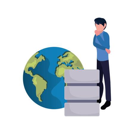 business man world database server vector illustration design Ilustrace