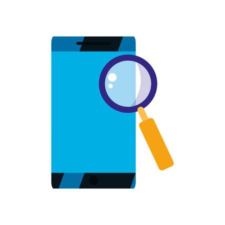 phone magnifying glass analysis vector illustration design