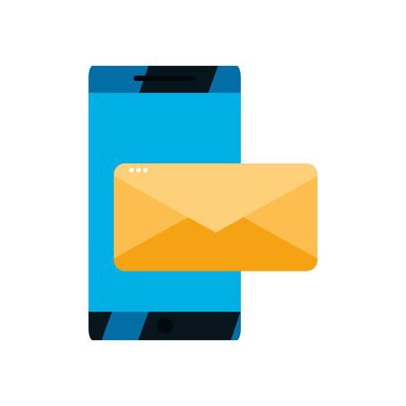 smartphone email message white background vector illustration design