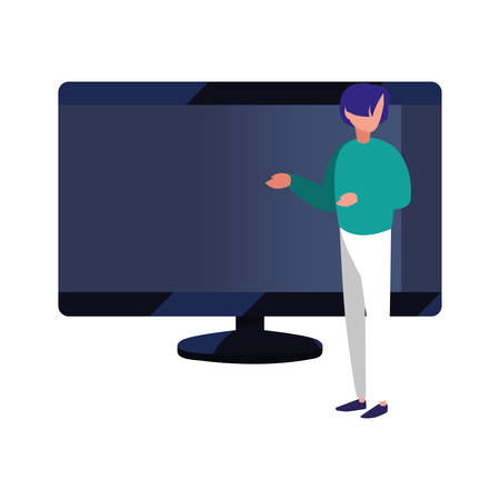 man pointing computer monitor vector illustration design Çizim