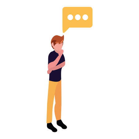 young man thinking gesture speech bubble vector illustration design Çizim