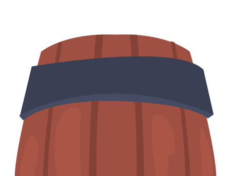 wooden barrel on white background vector illustration