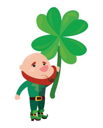 leprechaun holding clover happy st patricks day vector illustration 写真素材 - 124880532