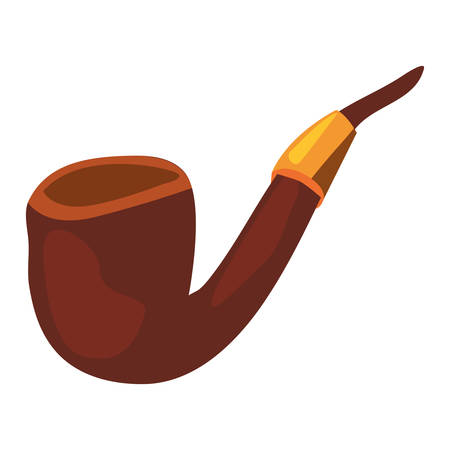tobacco pipe object on white background vector illustration