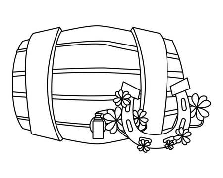 horseshoe clovers barrel happy st patricks day vector illustration