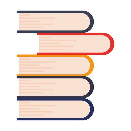 stacked books learning on white background vector illustration