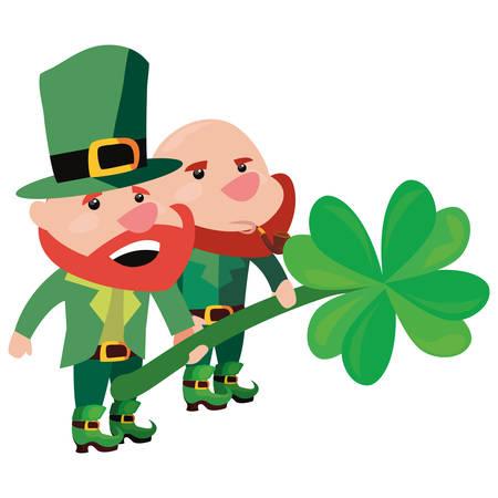 leprechauns holding clover happy st patricks day vector illustration  イラスト・ベクター素材