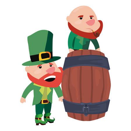 leprechauns and wooden barrel happy st patricks day vector illustration