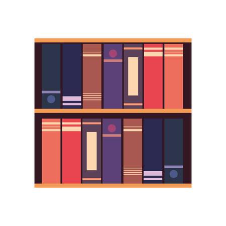 bookshelf books learning on white background vector illustration Stock Illustratie