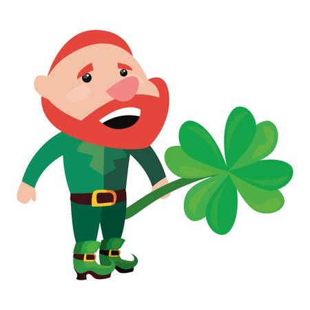 leprechaun holding clover happy st patricks day vector illustration 写真素材 - 124882081