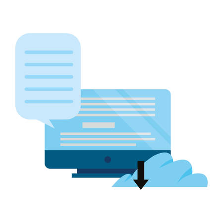 computer cloud storage online education school vector illustration