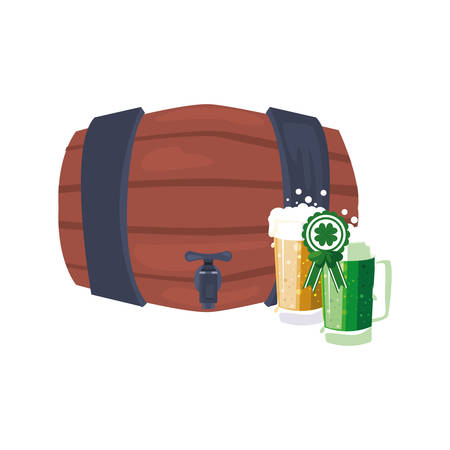 barrel and beers st patricks day vector illustration