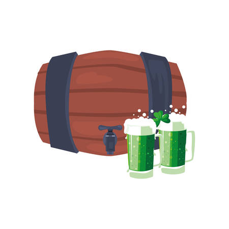 barrel and green beers st patricks day vector illustration Stock Illustratie