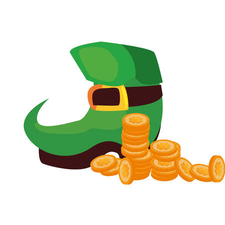 green boot coins st patricks day vector illustration